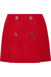 Button-embellished wool mini skirt