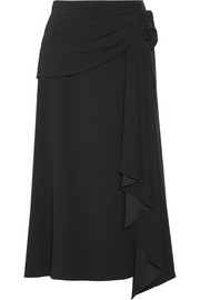 Draped crepe midi skirt