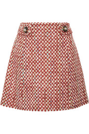 Wool and cotton-blend tweed mini skirt
