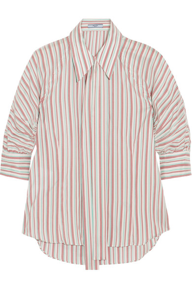 Prada - Pussy-bow Striped Silk Shirt - Off-white