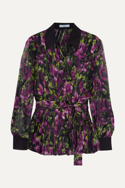 Prada Pleated floral-print silk-crepon blouse