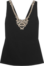 Prada Crystal-embellished crepe top