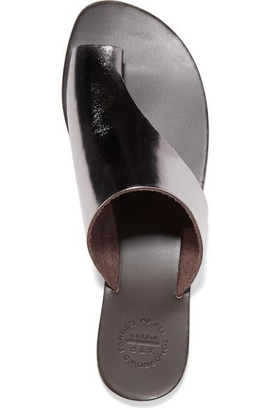 atp atelier rosa cutout metallic leather slides net a