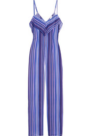La Perla Striped stretch-silk jumpsuit