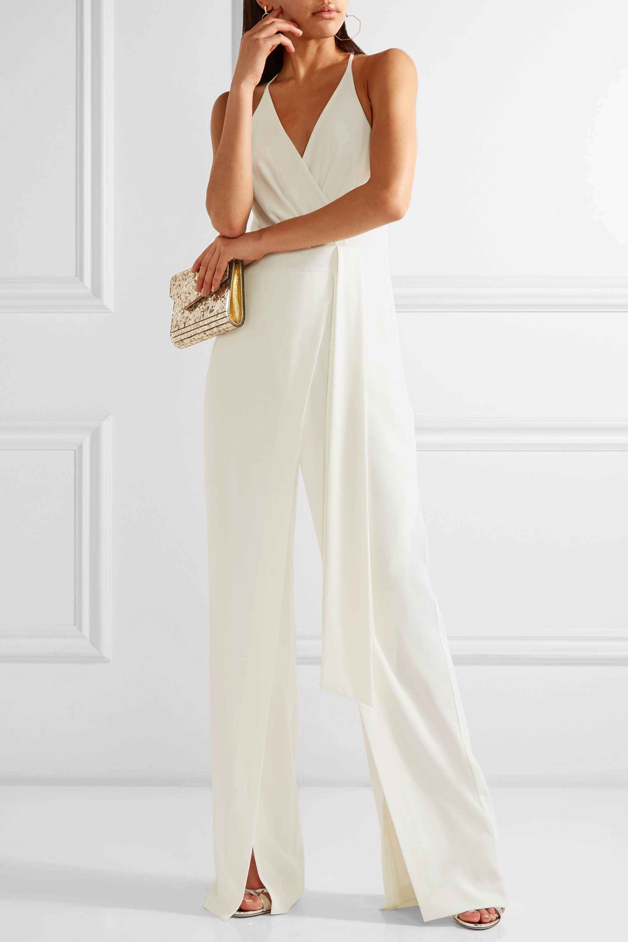 Halston Draped georgette-trimmed crepe jumpsuit