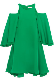 Halston Heritage Cold-shoulder ruffled twill mini dress