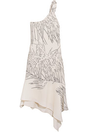 Halston Heritage One-shoulder asymmetric printed crepe dress