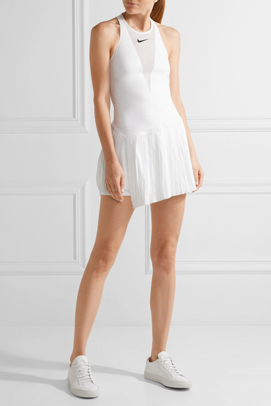 Maria Dri Fit Pleated Mesh Paneled Stretch Tennis Dress by Nike