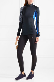 Energy paneled stretch-mesh turtleneck top