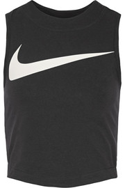 Swoosh cropped stretch-cotton jersey tank
