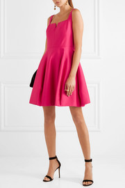 Halston Heritage Pleated cotton and silk-blend mini dress