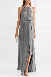 Halston Heritage Metallic ribbed-knit gown