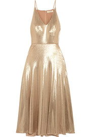 Halston Heritage Metallic stretch-jersey midi dress