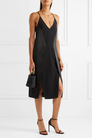 Halston Heritage Paneled crepe, chiffon and satin dress