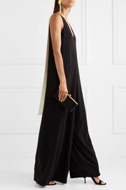 Draped georgette-trimmed crepe jumpsuit