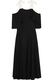 Halston Heritage Cold-shoulder draped crepe maxi dress