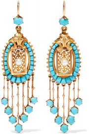 Victorian 18-karat gold, turquoise and pearl earrings