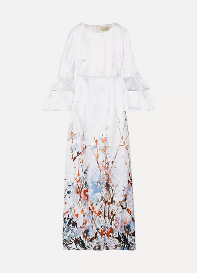 MERCHANT ARCHIVE Printed Satin Gown in Ivory