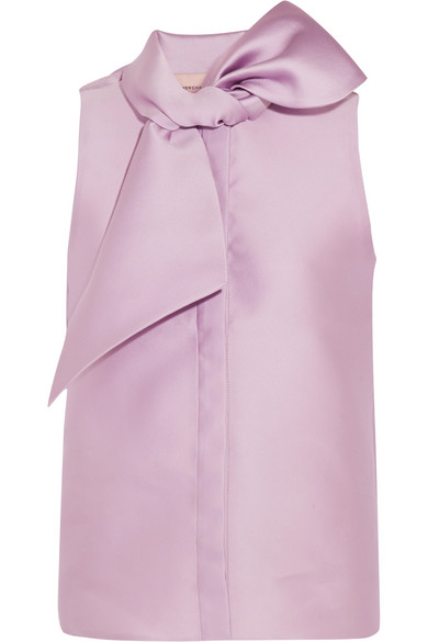 Merchant Archive - Pussy-bow Duchesse-satin Top - Lilac
