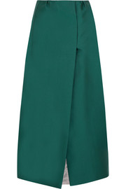Duchesse-satin midi skirt