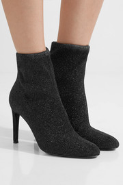 Giuseppe Zanotti Natalie glittered stretch-knit ankle boots