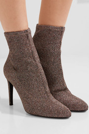 Giuseppe Zanotti Glittered stretch-knit ankle boots
