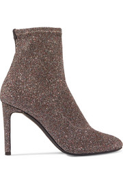 Glittered stretch-knit ankle boots