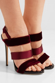 Giuseppe Zanotti Velvet, satin and patent-leather slingback sandals