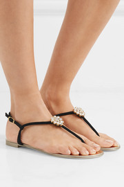 Crystal-embellished suede slingback sandals