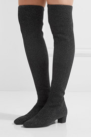 Giuseppe Zanotti Natalie glittered stretch-knit over-the-knee boots