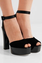 Giuseppe Zanotti Velvet, satin and patent-leather platform sandals