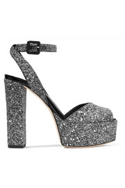 Giuseppe Zanotti Betty glittered leather platform sandals
