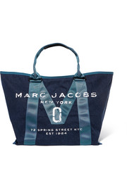 Printed canvas-trimmed denim tote