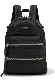 Biker mini leather-trimmed shell backpack