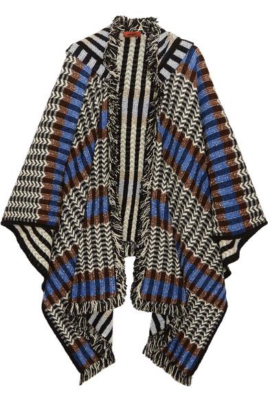 Missoni - Fringed Crochet-knit Wool-blend Poncho - Blue