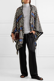 Missoni Fringed crochet-knit wool-blend poncho