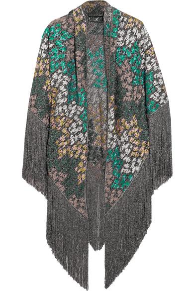 Missoni - Fringed Metallic Crochet-knit Wrap - Gray