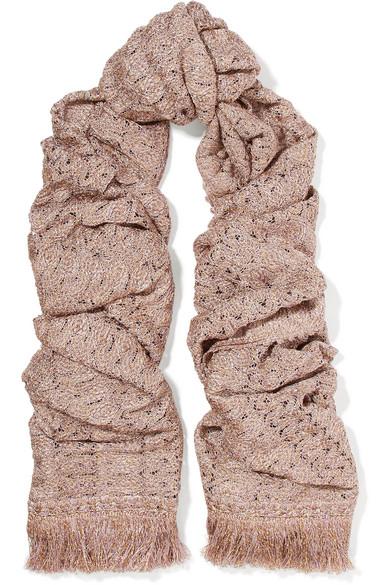 Missoni - Fringed Metallic Crochet-knit Scarf - Blush