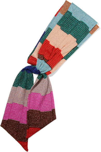 Missoni - Striped Metallic Knitted Headband - Red