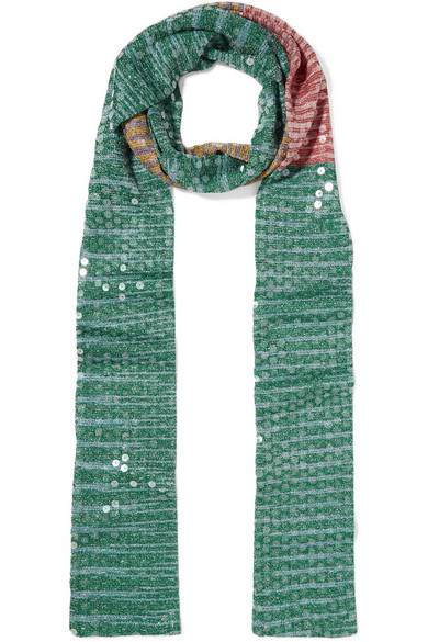 Missoni - Sequined Striped Crochet-knit Scarf - Green