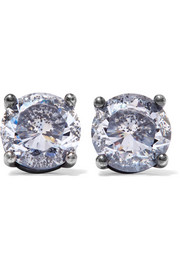 Bottega Veneta Oxidized silver cubic zirconia earrings