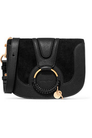 Hana small textured-leather and suede shoulder bag