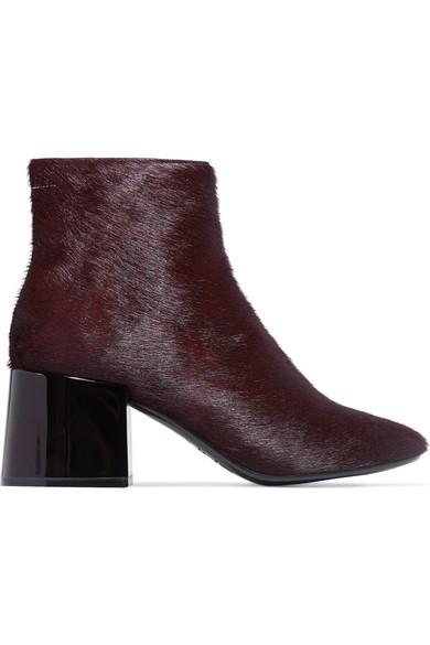 MM6 Maison Margiela - Calf Hair Ankle Boots - Burgundy