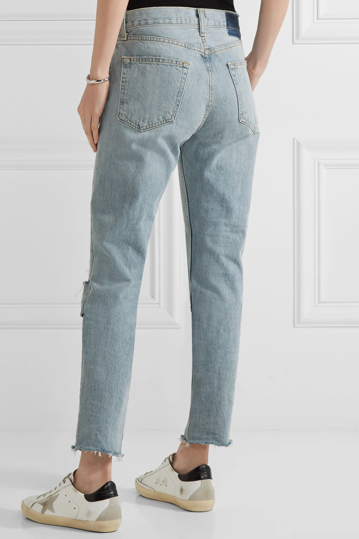 rag & bone Marilyn distressed high-rise straight-leg jeans