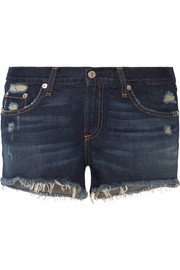 Distressed cut-off denim shorts