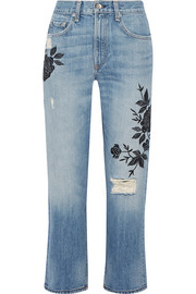 Marilyn embroidered distressed mid-rise straight-leg jeans
