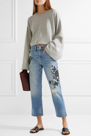 rag & bone Marilyn embroidered distressed mid-rise straight-leg jeans