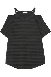 rag & bone Cutout striped stretch-jersey T-shirt