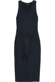 Michelle tie-front ribbed cotton-blend midi dress