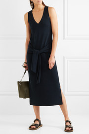 rag & bone Michelle tie-front ribbed cotton-blend midi dress